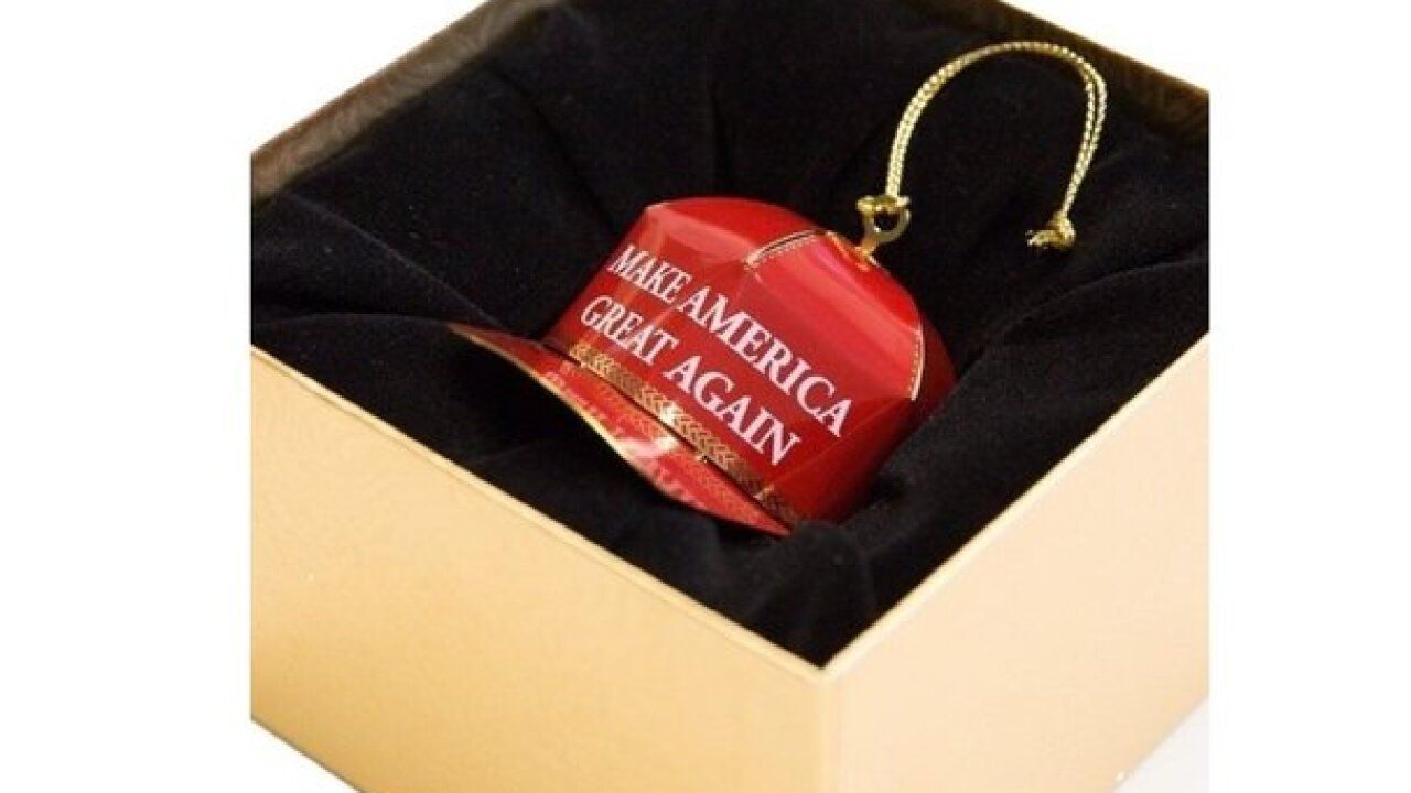 Trump sells Christmas ornaments made with gold
