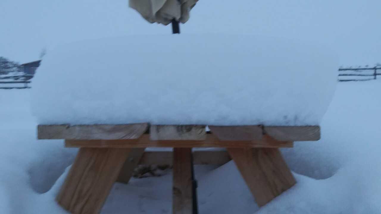 snow on table Peyton, Colorado
