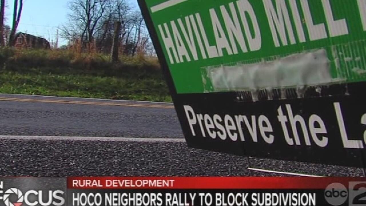 Neighbors at odds over Haviland Mill development
