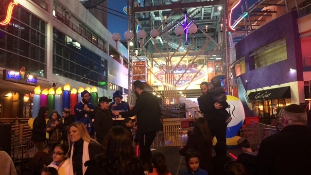 Fremont Street lights 20-foot Grand Menorah