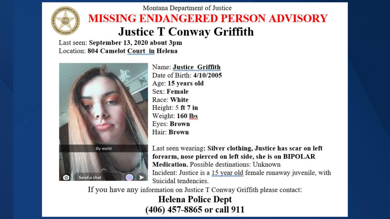 Missing-Endangered Person Advisory issued for Helena teen