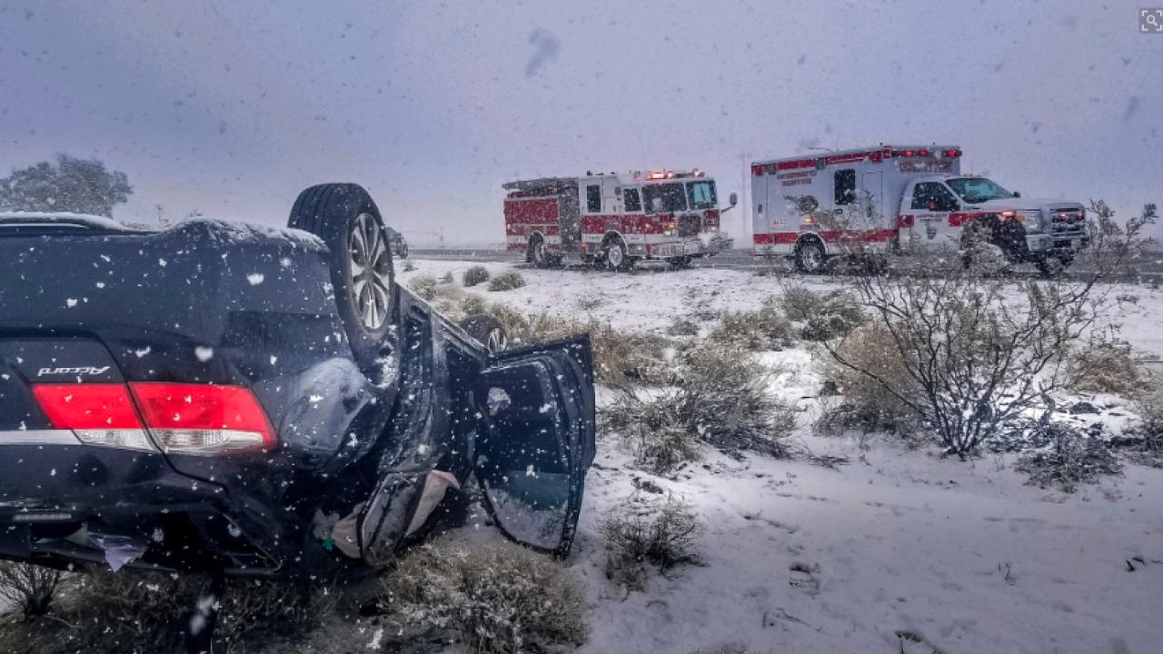Snow, crashes, falling trees shut down Southern California freeways