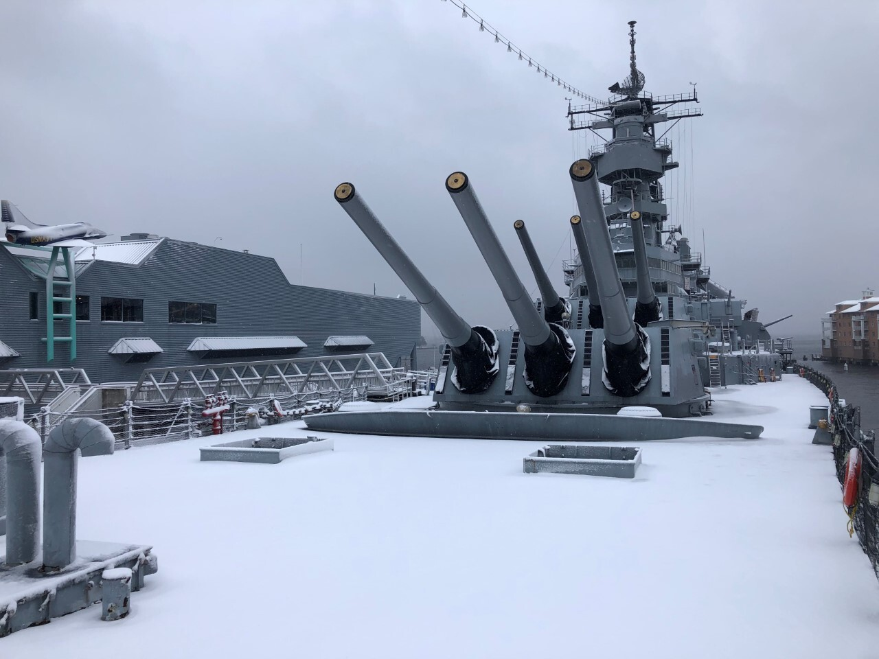 The Battleship Wisconsin is closed today due to slippery conditions, but still makes for a terrific photo!.jpg
