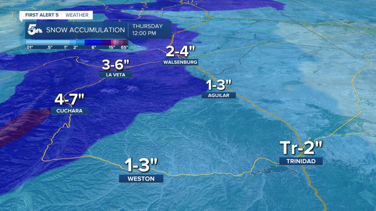 Southern I-25 Snowfall Accumulation