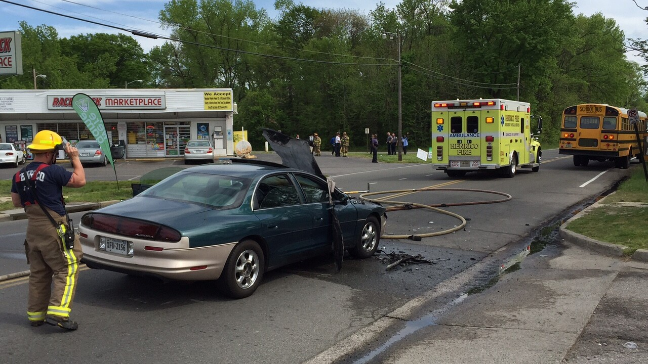 Car bursts into flames after slamming into Richmond schoolbus