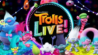 Logo and character artwork for Trolls LIVE! showing a variety of characters from the Trolls universe.