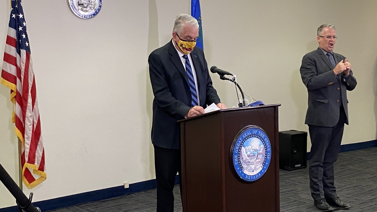 Gov. Steve Sisolak held a news conference on Tuesday, Sept. 29, 2020 to discuss relaxed restrictions related to the state's COVID-19 response