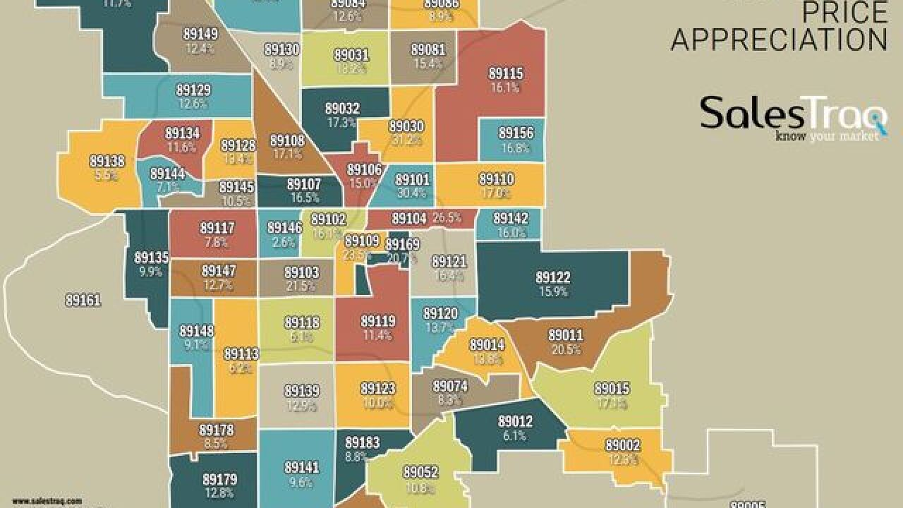 Which Las Vegas valley zip codes showed highest gains in home prices?