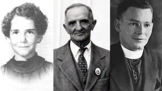 "Charlene Richard, Auguste ""Nonco"" Pelafigue, and Lt. Father J. Verbis Lafleur"