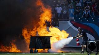 Tennessee Titans pregame pyrotechnics start small fire