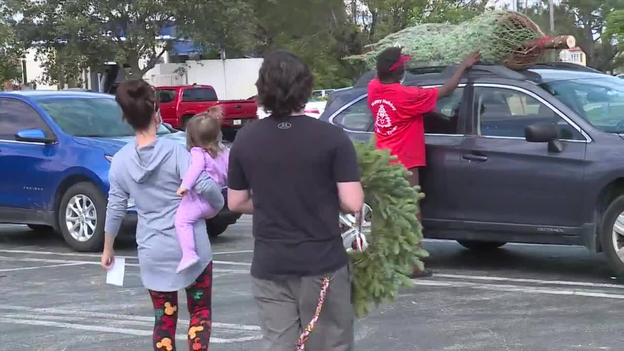 Vendor places Christmas tree on top of customer's SUV