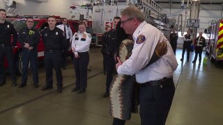 Clementine reunites with first responders who saved her life