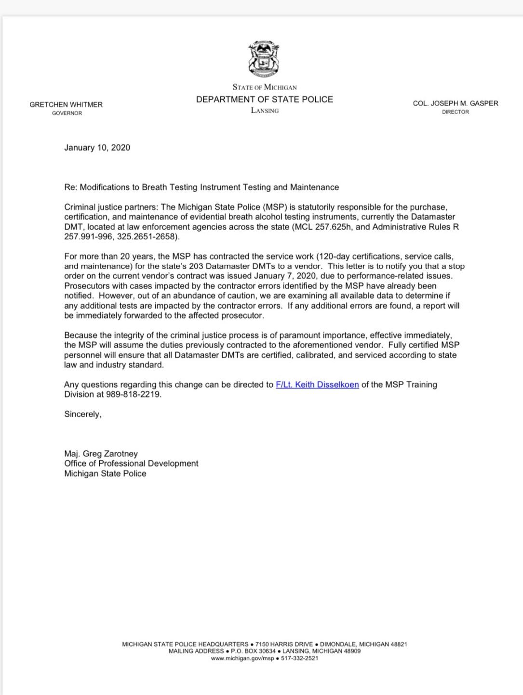 MSP Letter - Maj. Zarotney