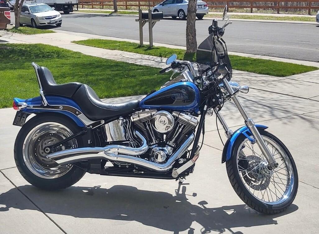 Blue chromed Harley