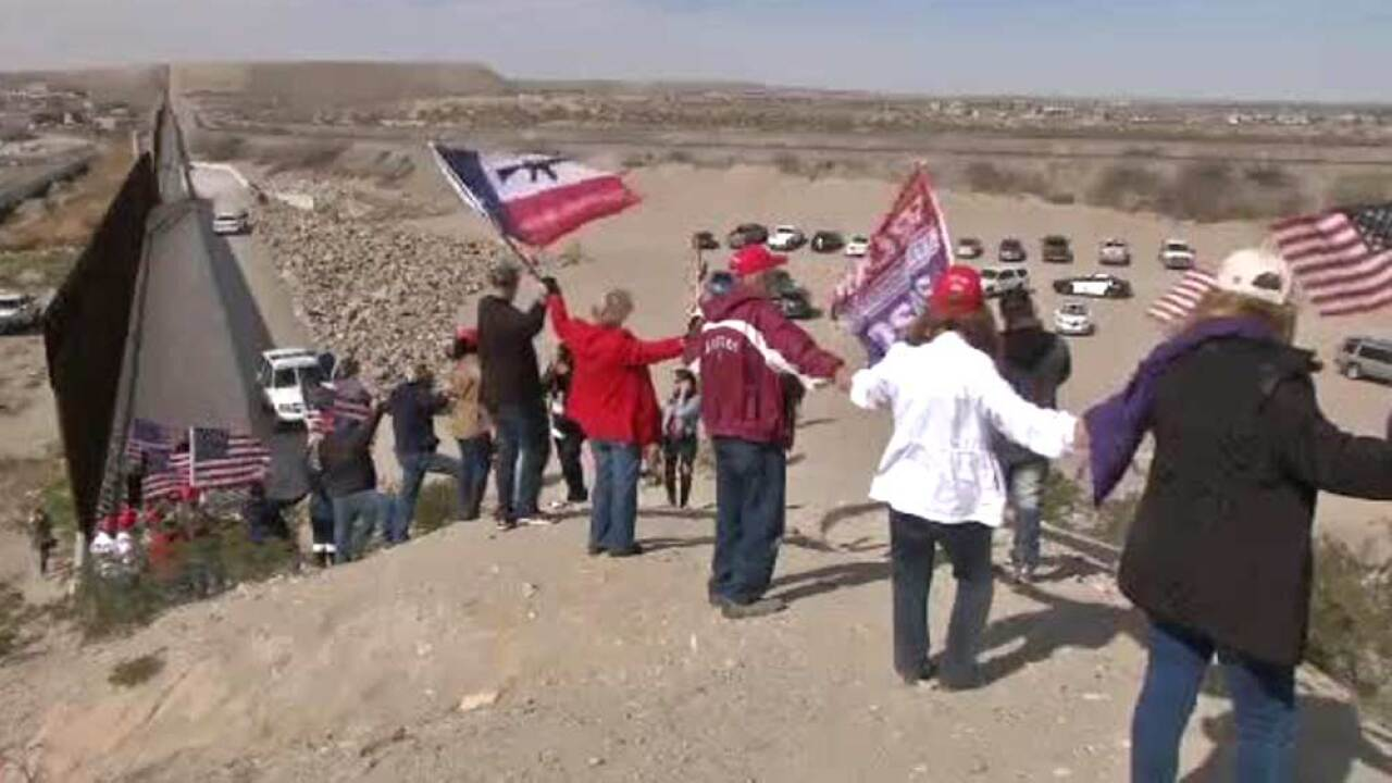 Supporters of President Trump formed a human wall at the border between Sunland Park, N.M. and Anapra, Mexico, on Feb. 9, 2019.