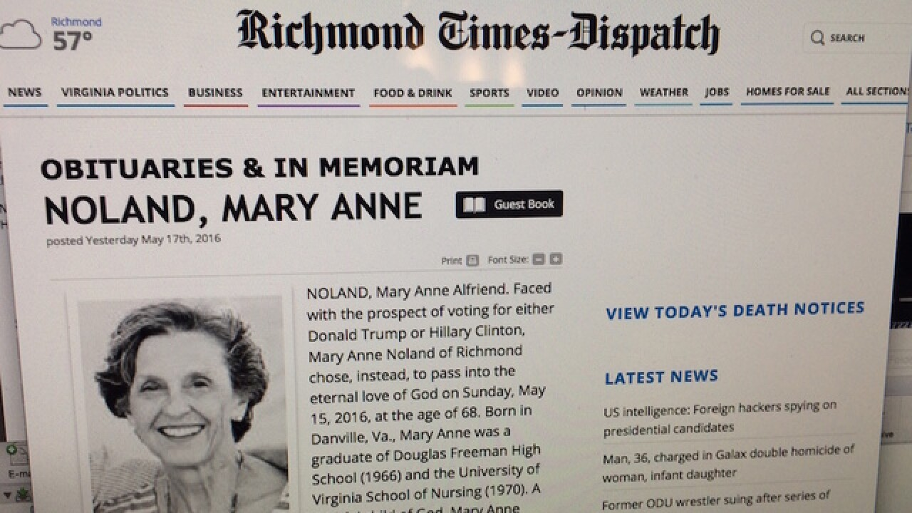 Obit: Woman chose death over Trump, Clinton vote