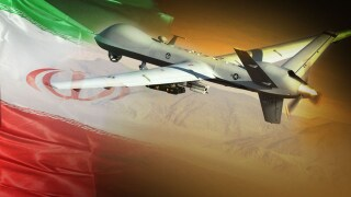 STILL UNTITLED: Iranian flag with US drone