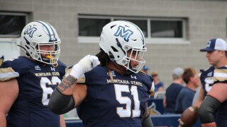MSU OL Taylor Tuiasosopo gets hyped up before the game