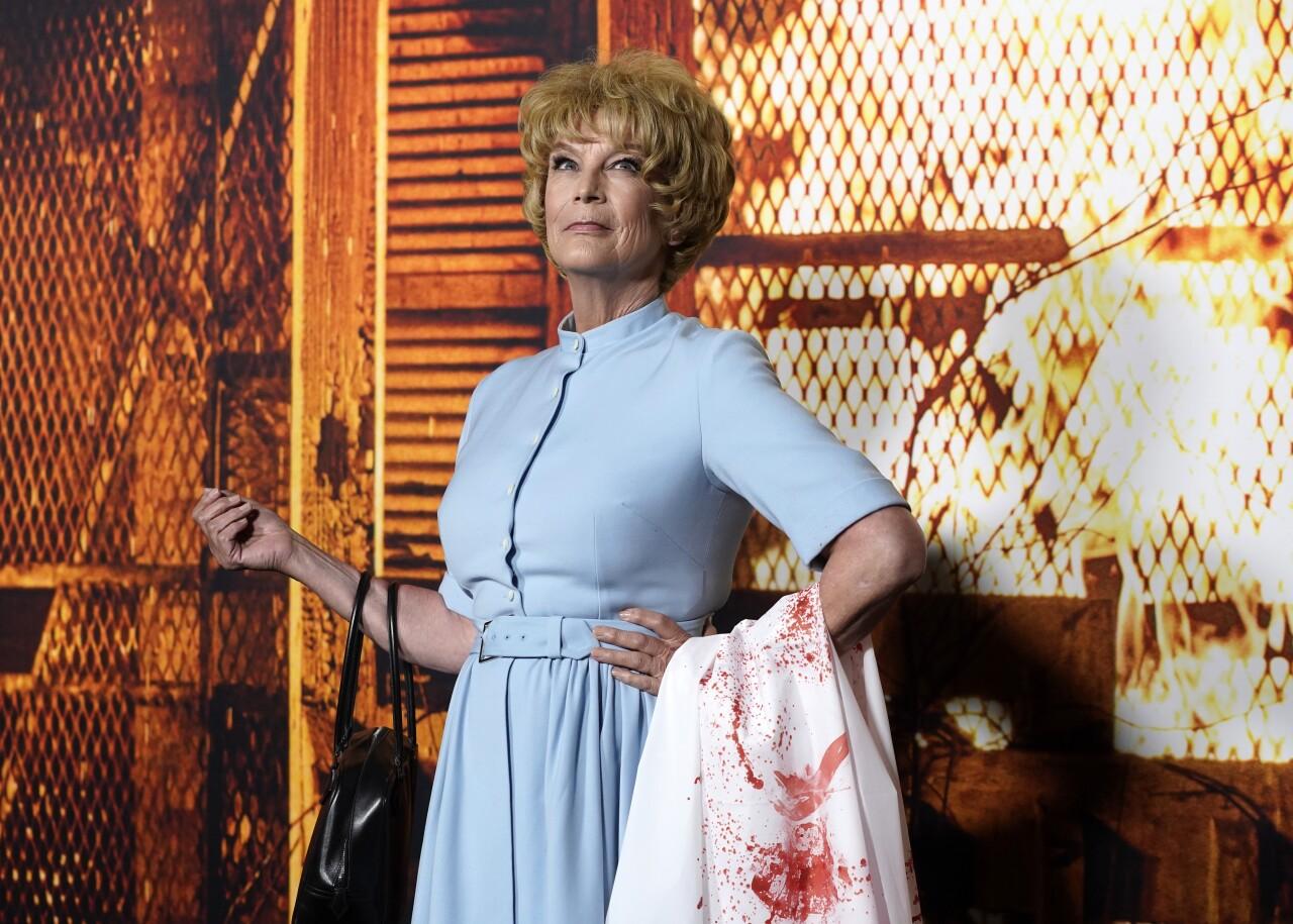 Jamie Lee Curtis dressed as Marion Crane at 'Halloween Kills' Hollywood premiere in 2021