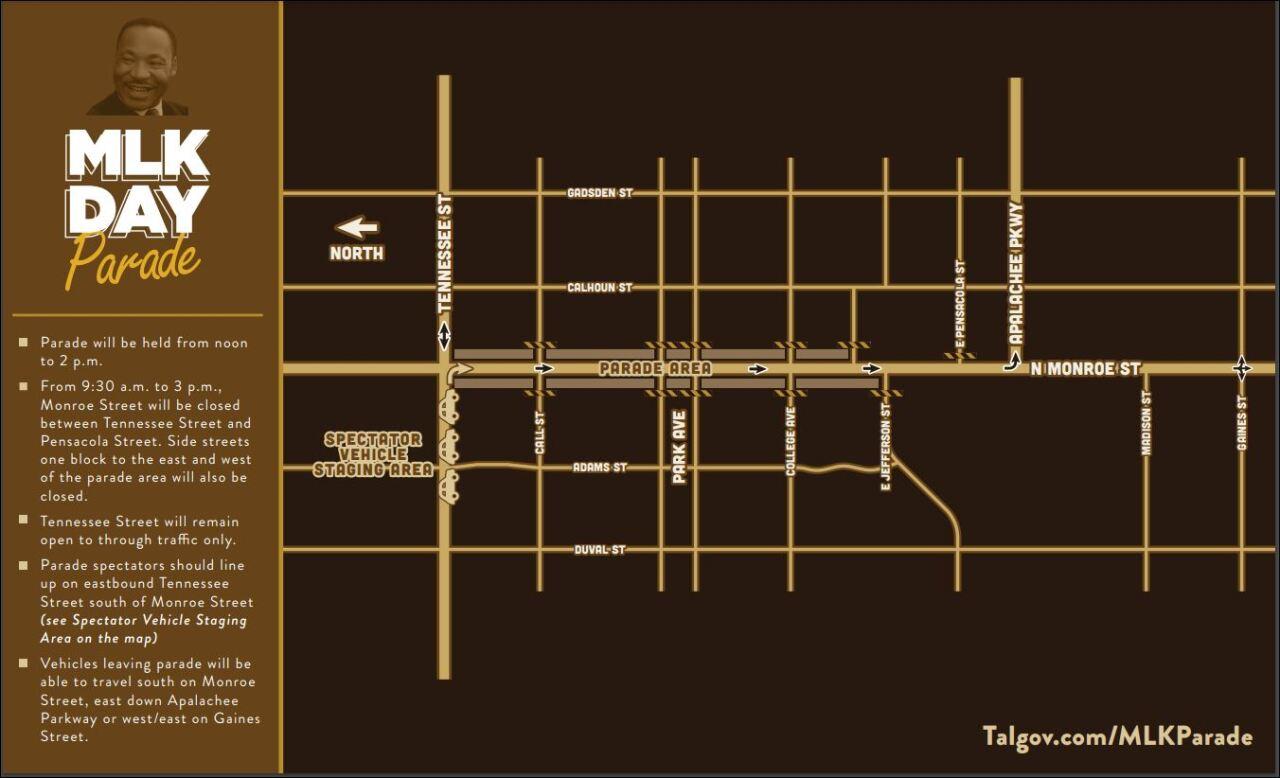 MLK Day drive-thru parade map