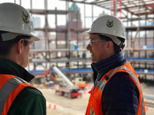 Gov. Walker tours new Bucks arena