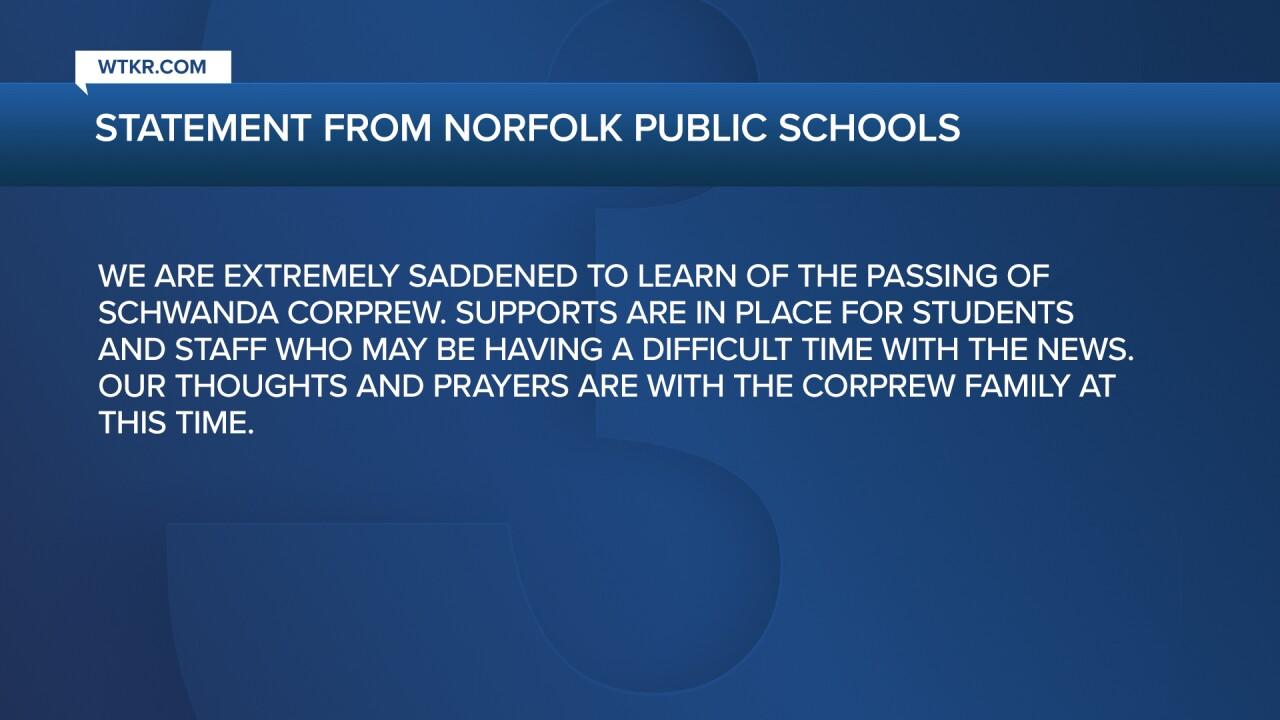 Norfolk Public Schools Statement on Schwanda Corprew's death