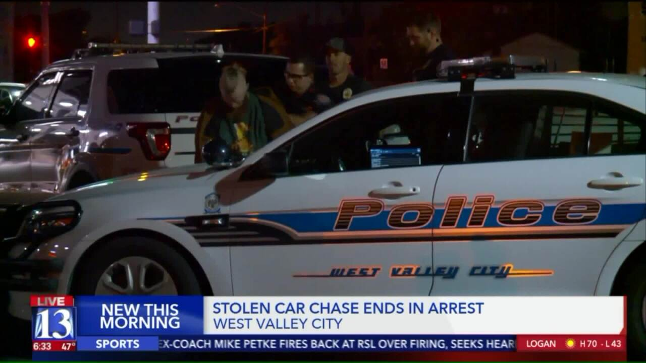 Man arrested after leading West Valley City Police on chase in stolencar