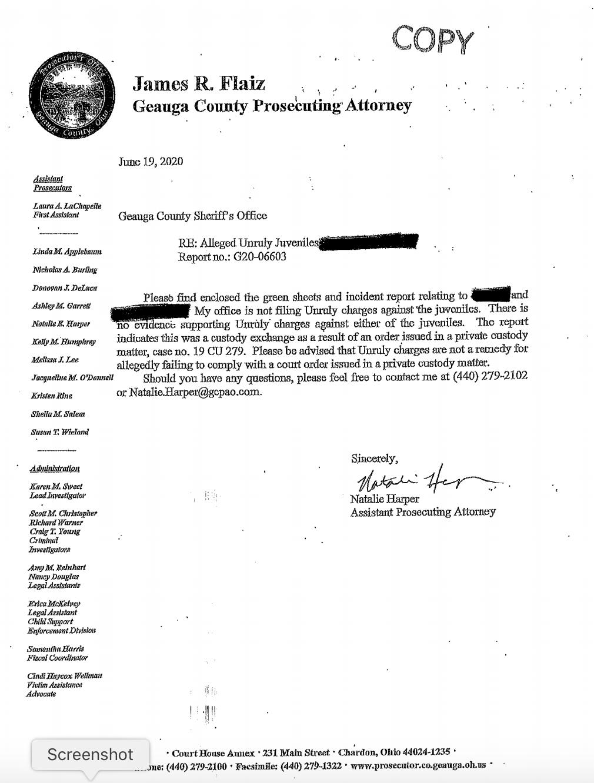 Geauga County Prosecuting Attorney memo
