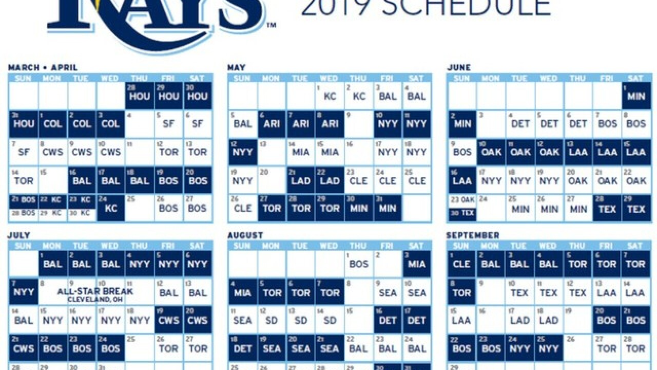 Rays release their 2019 regular season schedule