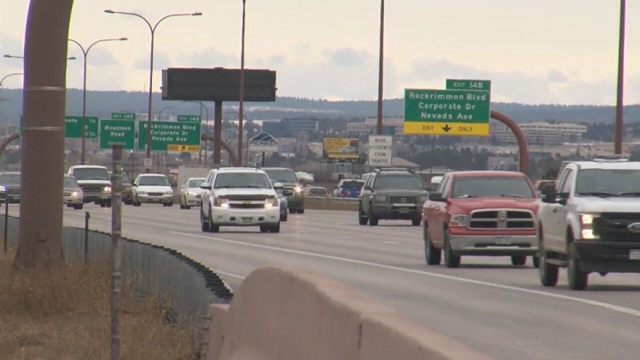 Cars on I-25 in Colorado Springs