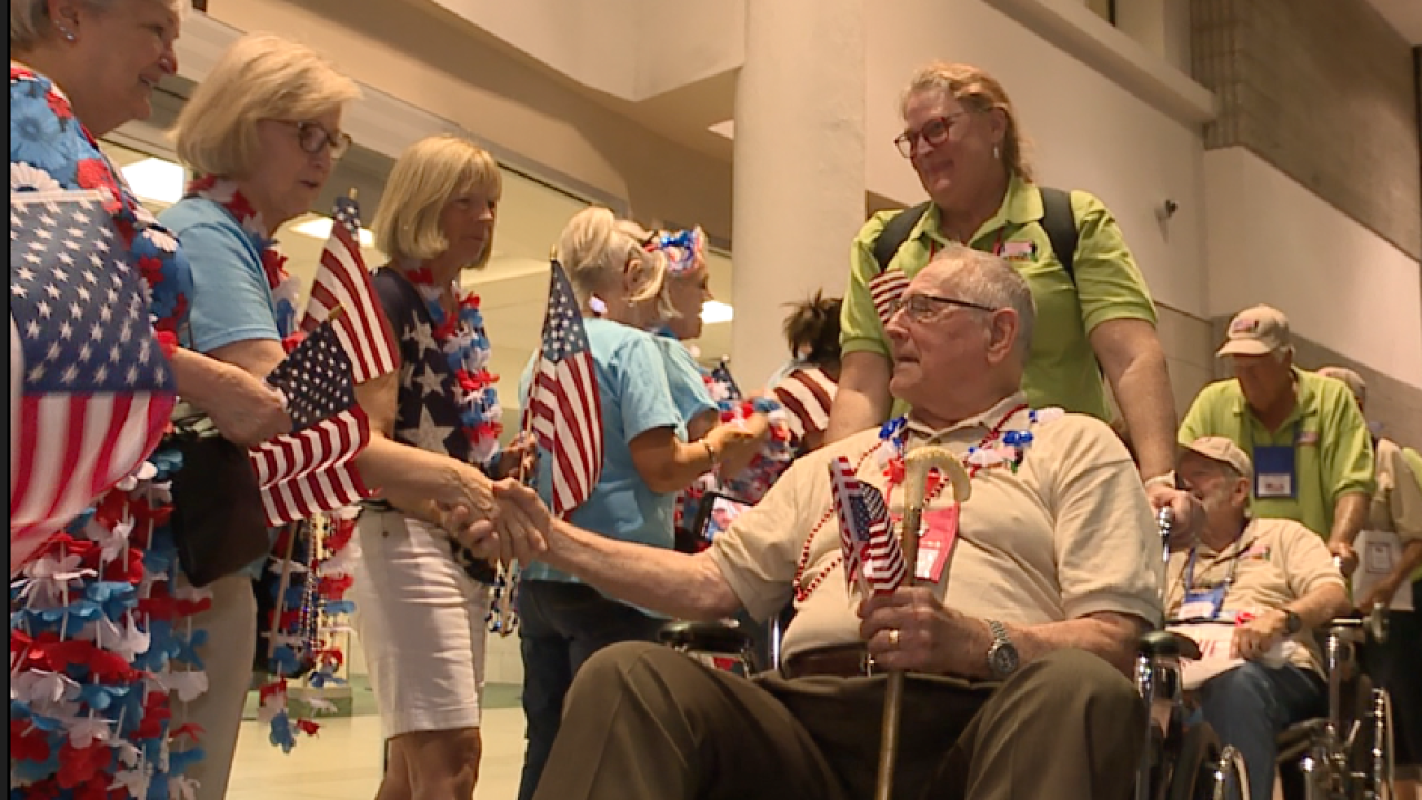 Honor flight arriving at St. Pete Clearwater International Airport.