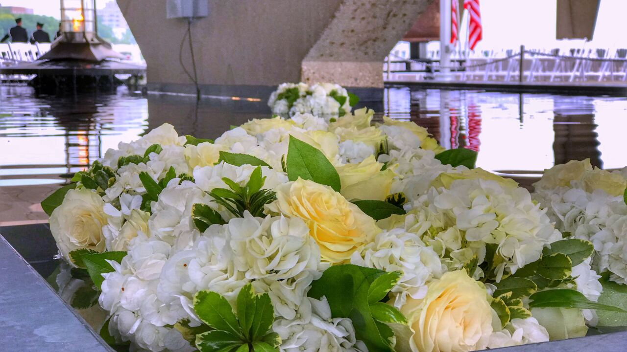 Flowers at 9/11 Memorial in Wisconsin