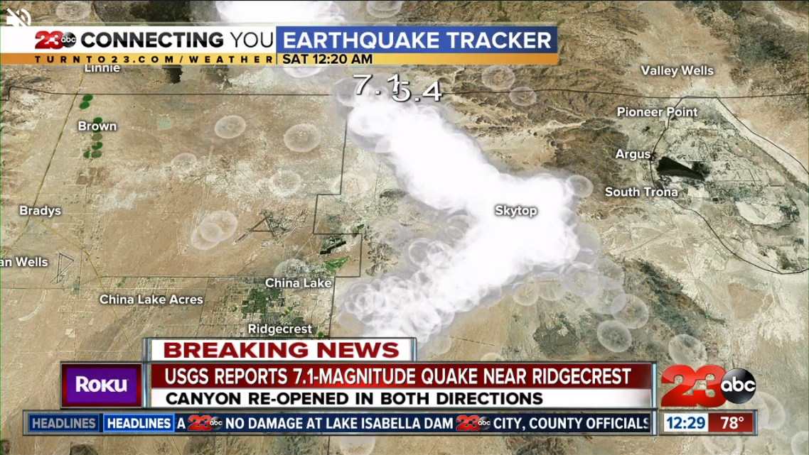 23ABC Earthquake Tracker as of 12:29 AM