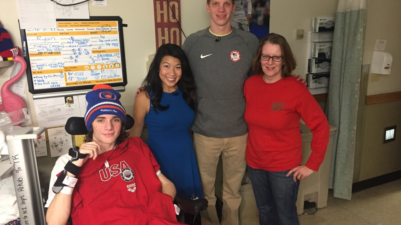 Olympic swimmer visits Godwin student in thehospital