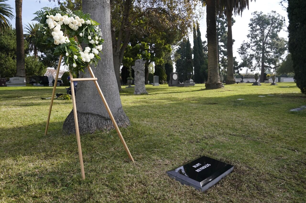 Burt Reynolds memorial in Garden of Legends section of Hollywood Forever Cemetery, Feb. 11, 2021