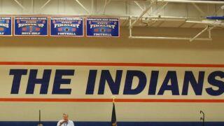 Saugatuck Indians gym wall.JPG