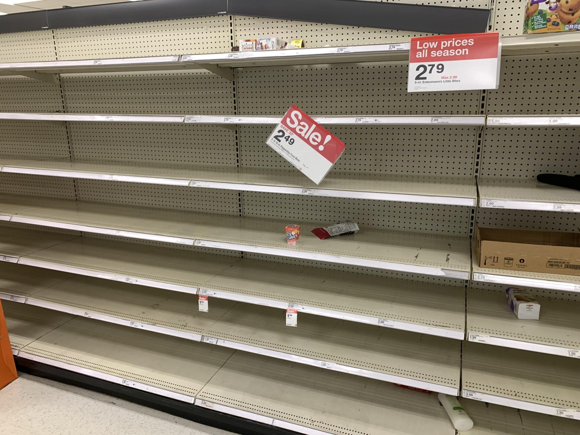 Bread shelves at a Metairie, Louisiana Target