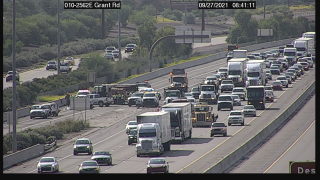 One person died in a three-vehicle wreck on Interstate 10 near Grant Monday. Photo via ADOT.