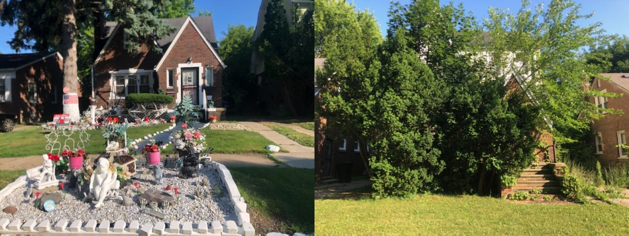 Left: The east side home owned by Vivian Gray. Right: The property next door to Gray owned Sam Jaser.