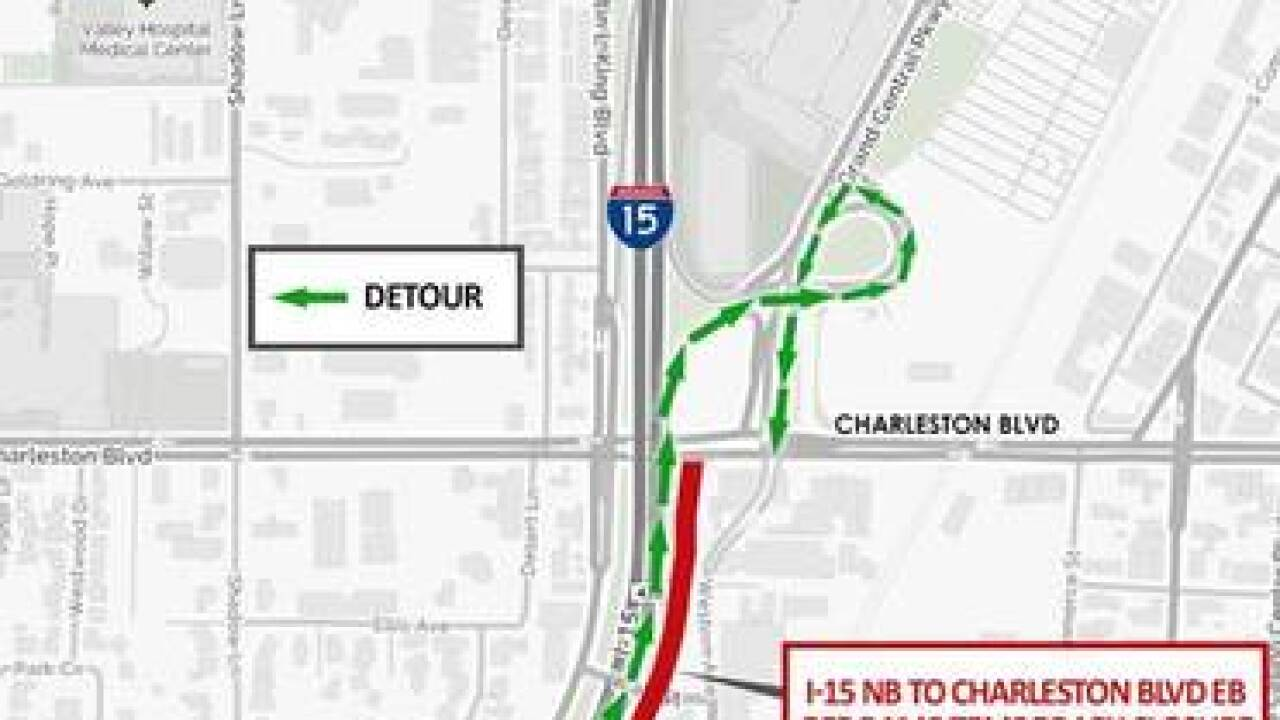 Northbound I-15 to eastbound Charleston off-ramp closed for 30 days starting Feb. 4