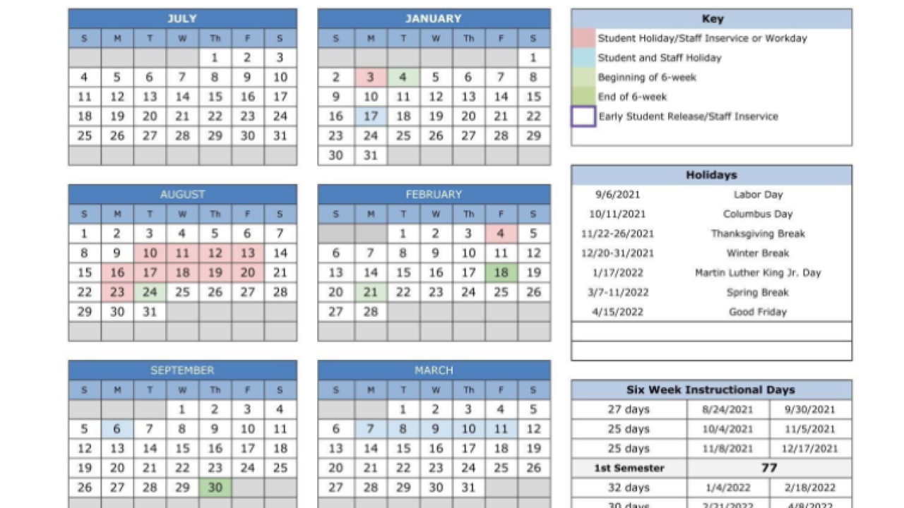 Waco ISD Calendar Voting Options