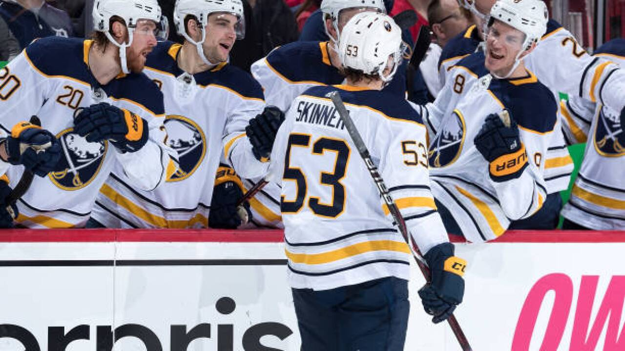 Jeff Skinner scores twice, Sabres rout Red Wings in teams' finale