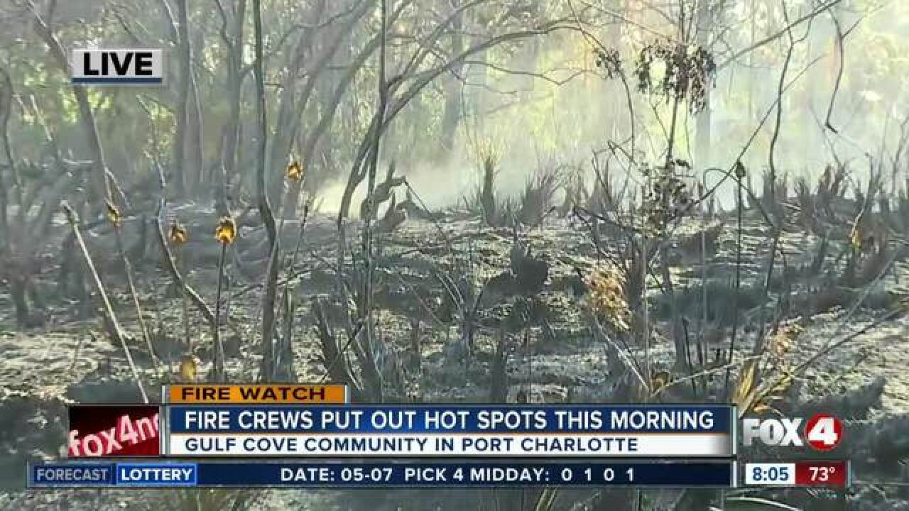 Fire crews put out hot spots in Charlotte County