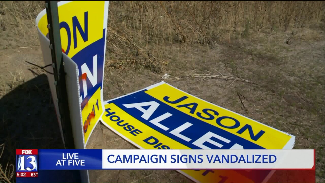 Campaign signs vandalized in Weber County