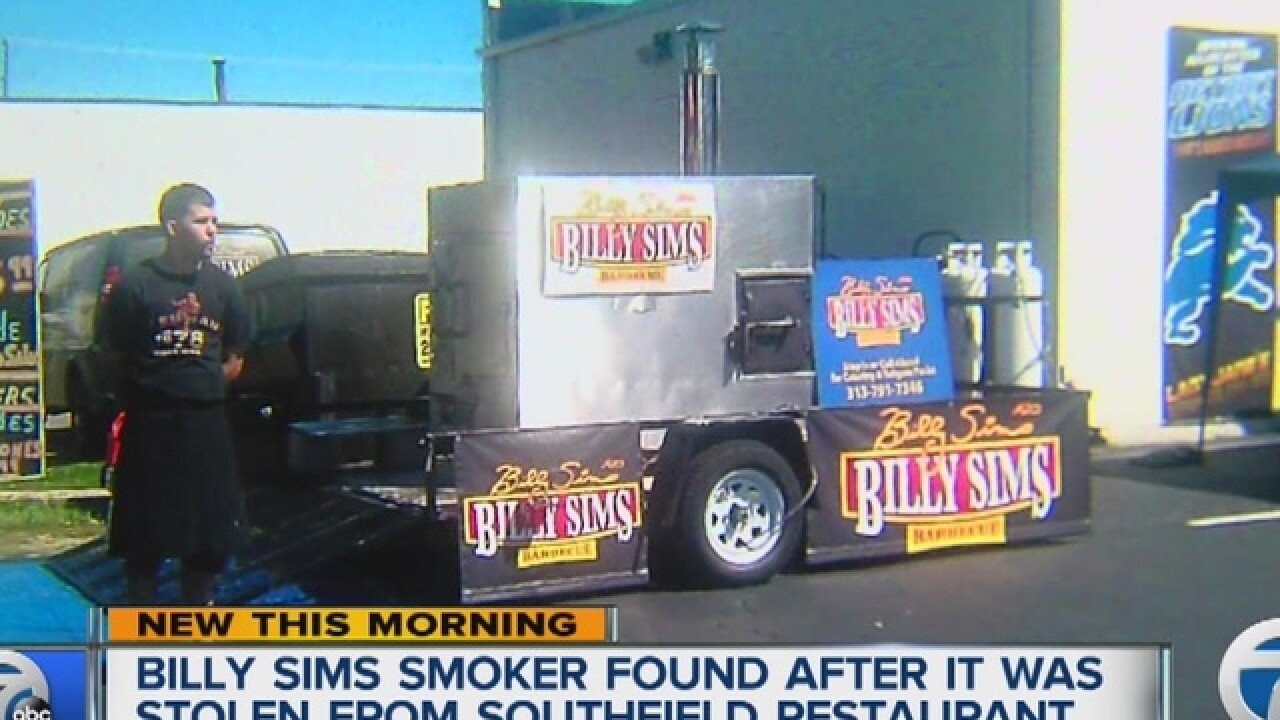 Smoker stolen from Southfield Billy Sims BBQ