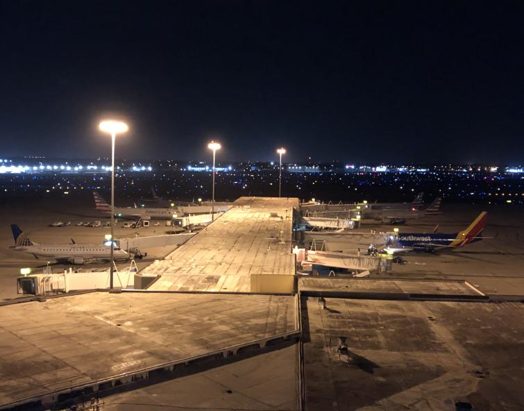 Planes wait on tarmac at Palm Beach International Airport, Feb. 15, 2021
