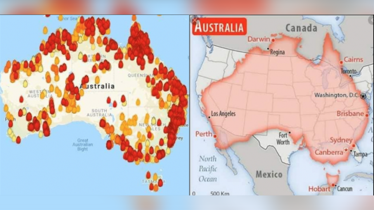 The scale of Australia\'s fires compared to map of United ...