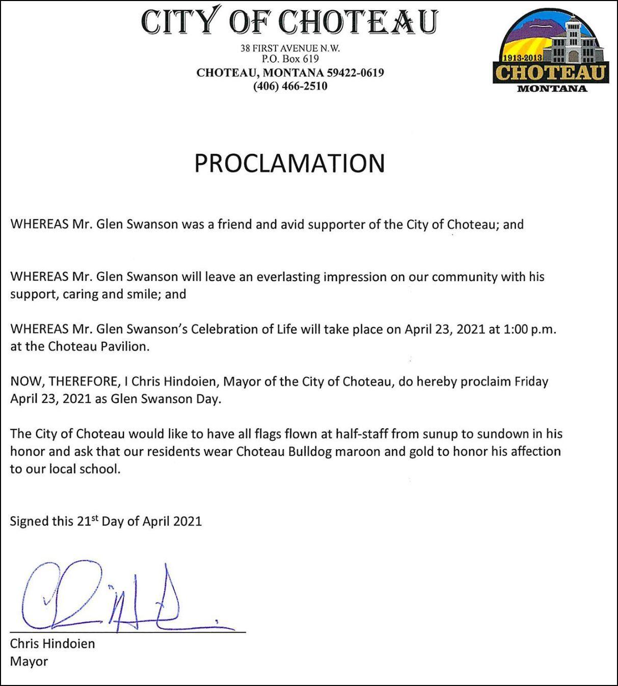 """Glen Swanson Day"" proclamation"