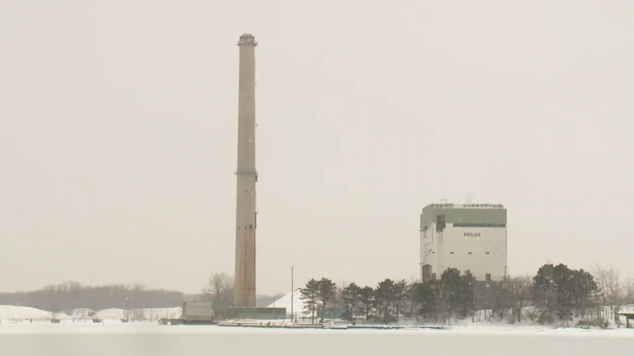 Smokestack in Grand Haven before demolition