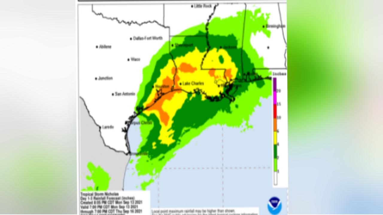 Tropical Storm Nicholas map